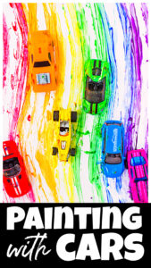 You will love this outrageously funpainting with cars activity where kids will make a cheery rainbow painting using hotwheel vehicles.This rainbow painting for kids is a sillyrainbow painting ideas that your kids will LOVE! Use this for a rainbow theme, car theme, spring theme, or just a fun play ativity with kids. Try this car activities for kids with toddler, preschool, pre-k, kindergarten, and first grade students.