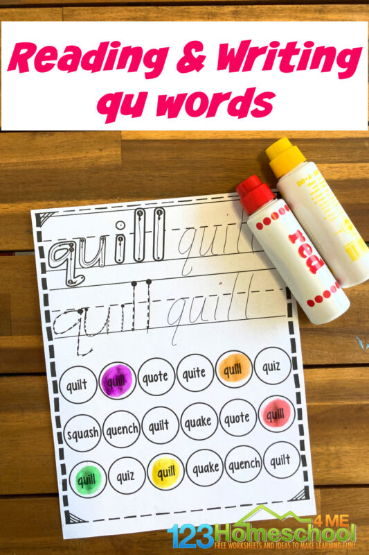 This fun phonics printable activity is great for helping kindergarten, first grade, and 2nd graders readingqu words. Simply download pdf file withqu words worksheets and you are ready to play and learn while having fun with dot markers!