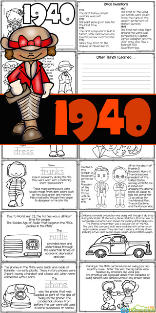 Learn all about the 'golden age' of radio as well as World War II with this fun 1940s America Reader. As children in kindergarten, first grade, 2nd grade, 3rd grade, 4th grade, 5th grade, and 6th graders read about the 1940s for kids thye will color to learn with this american history printable they will learn some interesting1940s facts. Simply download pdf file withUS history worksheetsto learn aboutamerican history for kids.