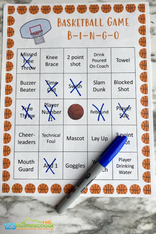 Basketball bingo game