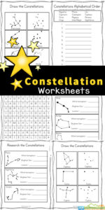 These free, no-prep Constellation Worksheets are a great way for children to learn about 28 different constellations that can be found in the night sky in either the Northern or the Southern Hemisphere. Included in this pack of Constellation activity sheets are several fun ways for kids to explore the solar system for kids and the patterns stars make in the sky. Simply print pdf file with Constellation Printables and you are ready to play and learn aboutconstellations for kidswith a funconstellations activitywith first grade, 2nd grade, 3rd grade, 4th grade, 5th grade, and 6th grade students.
