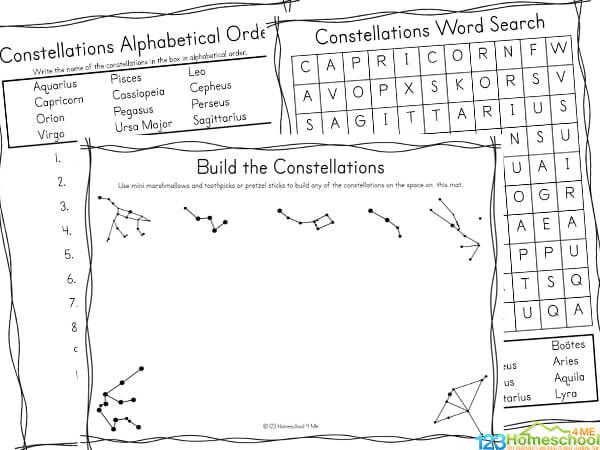 Constellation activity sheets