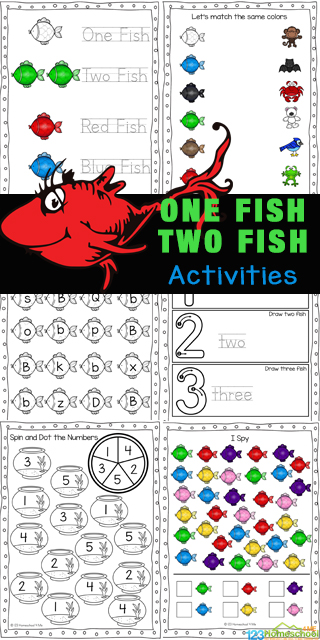 Have fun with these One Fish, Two Fish Activities which incorporate learning colors, and strengthening math and literacy skills for young children. These one fish two fish red fish blue fish activities are great for toddler, preschool, pre-k, and kindergarten age children to celebrate beloved children's book author Dr Seuss. Simply download pdf file with one fish two fish printables and you are ready to play and learn!