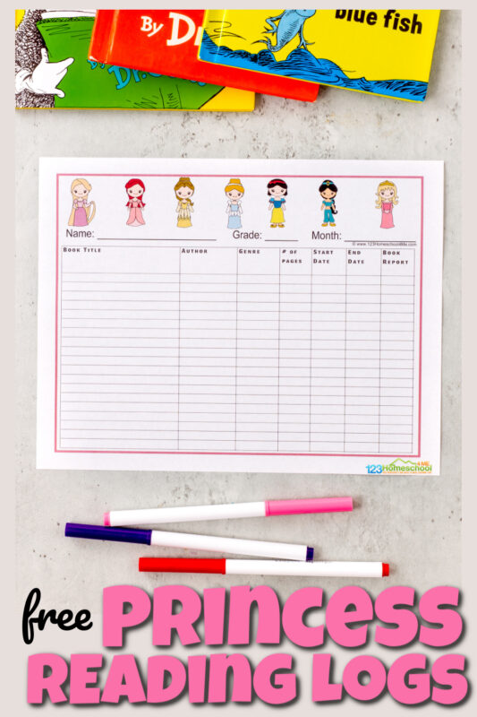 Get your little princess excited about reading with these super cute, princess themedreading log printable. This pack has lots of free printable reading log options, each with pretty princess clipart to encourage kids to read. The pack containes lots of options including both a reading log book to record all the books your child has read and spots to reacord adaily reading log, a weekly reading log, and a monthly reading log too. We've also included a reading certificate to celebrate your child's reading. These are super cute and handy for pre-k, kindergarten, first grade, 2nd grade, 3rd grade, 4th grade, 5th grade, and 6th grade students. Simply download pdf file withprintable book logand you are ready to isnpire kids to READ!