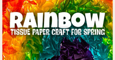 Looking for a quick and easy spring craft for kids? You will love this beautiful tissue paper rainbow craft! This simple craft is perfect for toddler,  pre-k, kindergarten, and first grade students! All you need are a few simple materials and you will love a really pretty preschool rainbow craft. Use this spring craft idea to celebrate springtime, st patrick's day activities for preschoolers, summer craft, or anytime you want to brighten up your window with a pretty suncatcher craft.