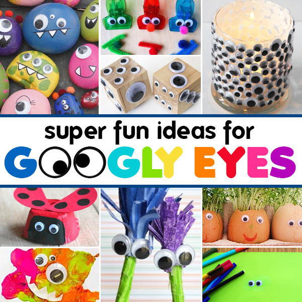 Kids love googly eyes. They are silly and super easy to add an instant pop to any project. SO whether you glue them on or use the sticker versions - here are lots of fun googly eyes crafts. These googly eye crafts are fun for toddler, preschool, pre-k, kindergarten, first grade, 2nd grade, and 3rd grade students. Whether you want to make a silly vase, color sorting monsters, pincone pals, silly egg heads, ladybug lids, stone monsters, monster slime, fun dice, and more - these crafts with googly eyes are outrageously FUN!