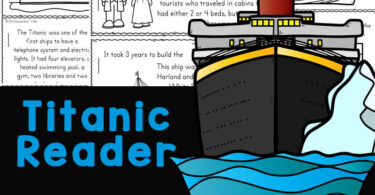 Make learning about the Titanic for Kids fun and easy with this free printable reader. Children from kindergarten, first grade, 2nd grade, 3rd grade, 4th grade, 5th grade, and 6th grade students will read, color and learn titanic facts for kids. Not only is this a great way to work on reading skills, but a great way to learn bout some history for kids while learning about the most luxurious and impressive ship of her time with intersting titanic information. Simply download pdf file with titanic printables and you are ready to play and learn!