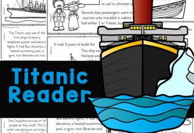Make learning about theTitanic for Kids fun and easy with this free printable reader. Children from kindergarten, first grade, 2nd grade, 3rd grade, 4th grade, 5th grade, and 6th grade students will read, color and learn titanic facts for kids. Not only is this a great way to work on reading skills, but a great way to learn bout some history for kids while learning about the most luxurious and impressive ship of her time with intersting titanic information. Simply download pdf file withtitanic printables and you are ready to play and learn!