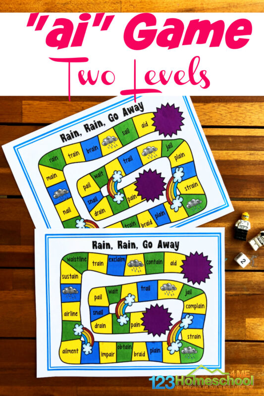 """Practice vowel team """"ai"""" with this fun no-prep gamelong a game. This free printable phonics game helps first graders work onai words. Children work their way around the game board as they readai sound words. Simply download pdf file withwords with ai in them and you are ready to play and learn!"""