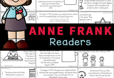 This Anne Frank for Kids Reader is a great way to work on reading skills while learning about a courageous young girl who lived during World War II. Children will color, read and learn with this free printable filled with anne frank facts for kids part of a history, or World War II study for kindergarten, first grade, 2nd grade, 3rd grade, 4th grade, and 5th grade students. Simply download pdf file withanne frank worksheets to learn abou this brave Jewish girl who hid with her family behind the wall in The Netherlands, Europe.