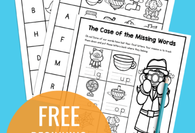 Help kids work on learning the sounds letters make with these super cute, free printable, beginning sounds worksheets. These initial sounds worksheet pages help pre-k, kindergarten, and first grade students practice matching letters with their phonemic sound. There are four different beginning sounds activities in this NO PREP beginning sound worksheets for kindergarten. Simply download pdf file with beginning sounds worksheets free and you are ready to work on kindergarten phonics!