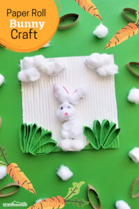 Kids of all ages will have fun making this cheerfulBunny Craft perfect for springtime or as aneaster bunny crafts.You will love the clever way thistoilet paper roll bunny uses a paper roll in a completely different way than mostbunny crafts for preschoolers! Thiseaster craft for kidsis perfect for toddler, preschool, pre-k, kindergarten, and first grade students.
