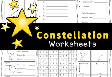 These free, no-prep Constellation Worksheets are a great way for children to learn about 28 different constellations that can be found in the night sky in either the Northern or the Southern Hemisphere. Included in this pack of Constellation activity sheets are several fun ways for kids to explore the solar system for kids and the patterns stars make in the sky. Simply download pdf file with Constellation Printables and you are ready to play and learn aboutconstellations for kidswith a funconstellations activitywith first grade, 2nd grade, 3rd grade, 4th grade, 5th grade, and 6th grade students.