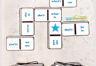 Make learning contractions FUN using contraction games! Grab this free printable Contraction Dominoes for a hands-on contractino matching activity!