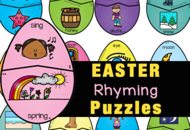 Young children will have fun practicingrhyming for kids with these thirty-six different rhyming puzzles with a funEaster Theme. Theseeaster printables are a great way to sneak a fun literacy activity for preschoolers and kindergartners in April. Simply download easter rhyming pdf file with and you are ready to play and learn with thiseaster activities for kindergarten.