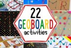 Use one of these clever DIY geoboards to try some hands-on math with these FUN geoboard activities. Geoboard ideas for Pre-k, kindergarten, grade 1.