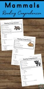 mammal reading comprehension worksheets