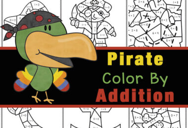Make practicing simple adding fun with these addition color by number. These NO PREP, free printable Pirates sneak in some fun math practice while having fun with a pirate theme. Use these color by number addition to make learning fun for pre-k, kindergarten, first graderss. As children solve the sum and color by code they will reveal cute pirate pictures include a pirate ship, a pirate, an anchor, a pirate flag and more. Thispirate activity is great for working on visual discrimination and math skills as they color by code to bring these fun pirate themed objects to life. Simply download pdf file withpirate worksheets and you are ready to play and learn!