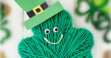 This super cute Shamrock craft is such a fun, easy-to-make st patricks day craft to make in March. All you need are a few common supplies like yard for this st patrick's day activities preschool, toddler, pre-k, kindergarten, and first graders. This happy shamrock is sure to be a favorite shamrock art projects idea.