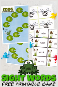 Make practicing Dolch sight wordsfun with this frog themed Printable Sight Word Games. This sight word board games uses grade 2 sight words to make a fun2nd grade sight words game. This sight word games works great independently or with a group of kids to make learning sight words fun for grade 1 children! Simply print pdf file with free printable sight word gamesand you are ready to play and learn with thisfree sight word gamesperfect for your next frog theme or spring theme!