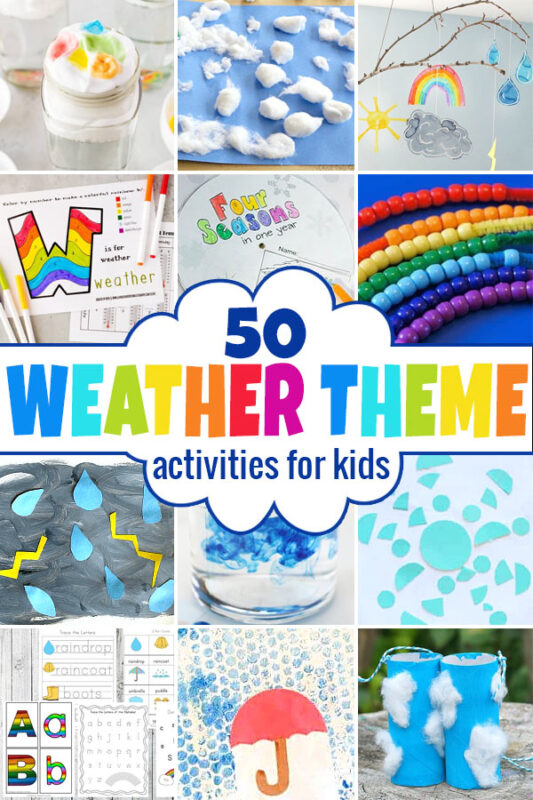 Learn all about weather with this fun week-long Weather theme! Your kids will enjoy learning about weather for kids with theseweather activities. Theseweather activities for kidsare fun for toddler, preschool, pre-k, kindergarten, first grade, 2nd grade, 3rd grade, and 4th graders. We've included weather printables, hands-on weather experiments for kids, cute weather crafts, and so much more!