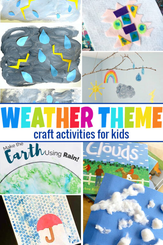 Weather Crafts Make some cute weather crafts for kids themed with clouds, raindrops, and lightening or use the actual rain to make a unique project.