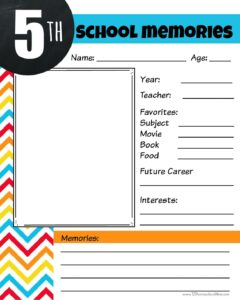 5th grade memory book pdf