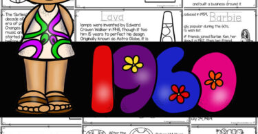 Learn all about the Sixties with this American History for Kidsreader to color and learn! Learn aboutlife in the 1960s with 1960s for kids printable book.