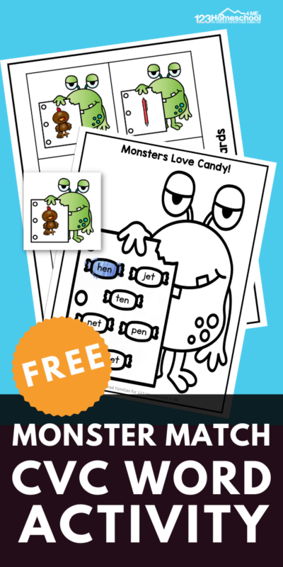 Fun CVC word activity for Kindergarten age. Help your children practice sounding out CVC words and test their comprehension at the same time. Click through to download our free activity.