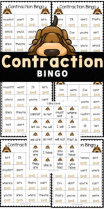 Make practicing contractions fun with this super cute, free printable Contractions Game. This Contraction Bingo is a fun printable bingo game perfect for helping first grade, 2nd grade, 3rd grade, and fourth grade students practice learning contractions with a fun twist! Simply print the pdf file with thematch the contractions activity and you are ready to play and learn!