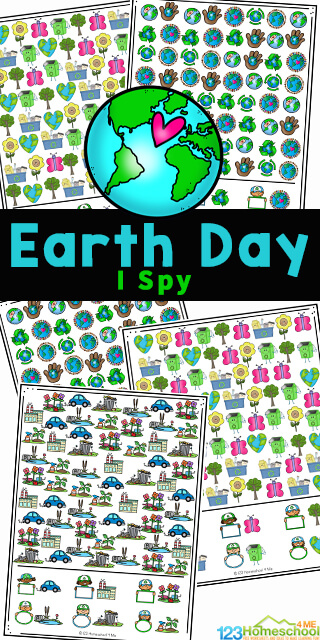 Celebrate Earth Day on April 22nd with these super cute Earth Day I Spy pages! Young children in preschool, pre-k, kindergarten and first graders, will love learning completin these earth day printables. There are several different Spring I Spy games for kids to complete. Each of them helps children work on visual discrimination, counting, and learninga about convservation as we reduce, reuse, and recycle. Simply download pdf file withearth day worksheets and you are ready to play and learn with thisearth day activity.