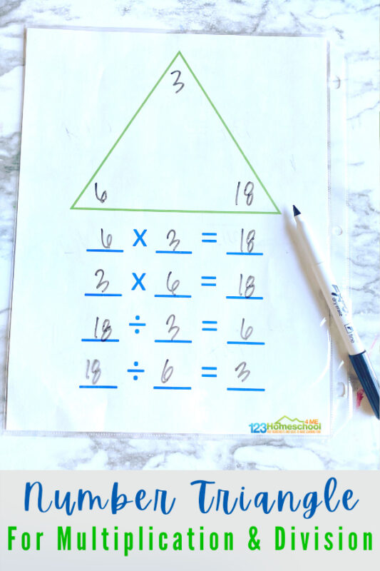 Help children work on multiplication and division with thesefact family triangles. Thesemultiplicaiton and division fact families are a simple way to help 3rd grade, 4th grade, and 5th grade students understand the connection between these two processes. SImply download pdf file withdivision printables and you are ready to practice with an easydivision activity.