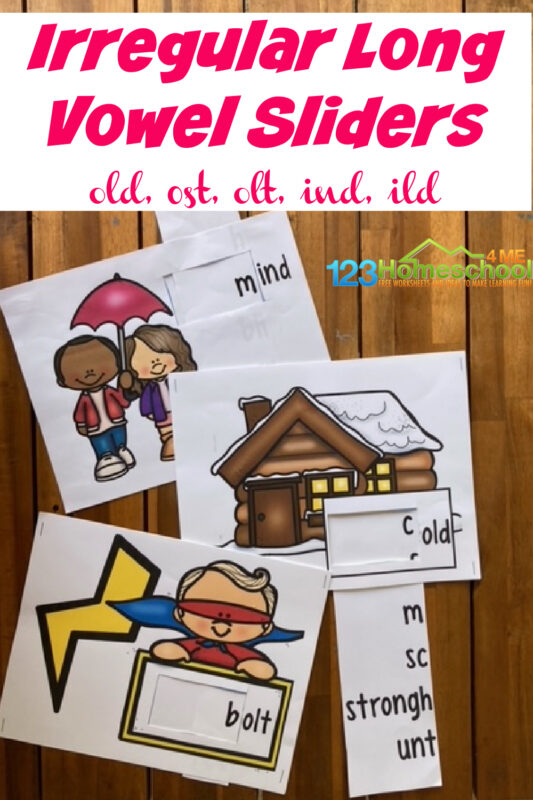 These super cute sliders are a fun, effecitve way for first grade and 2nd grade students to learnirregular vowels. Children will have fun with this cleverirregular verb activity and parents will love all theirregular verbs practice. Simply download pdf file withirregular verb game and you are ready to play and learn long o followed by ld, lt, and st as well as long o followed by nd and ld.