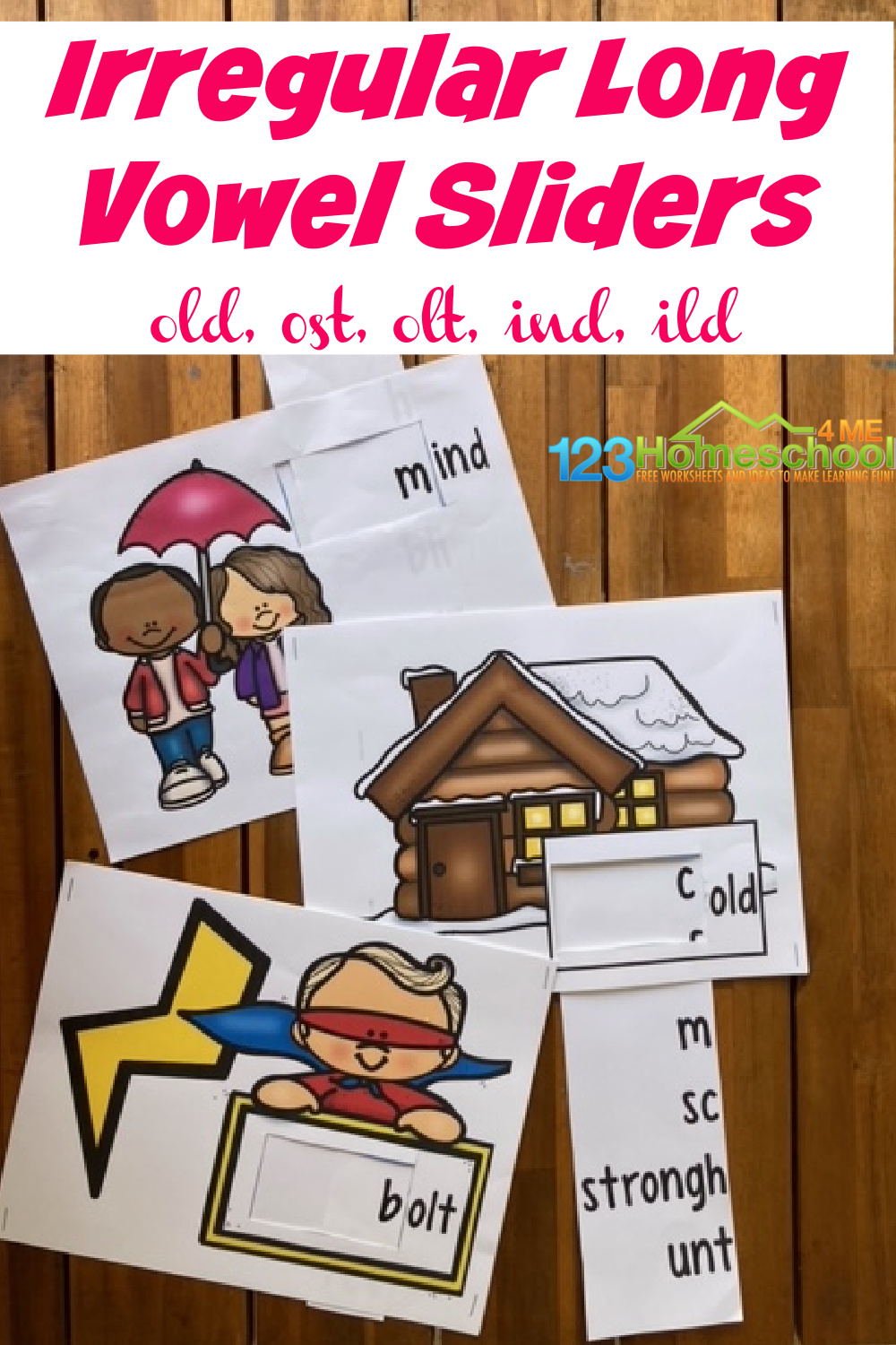 These super cute sliders are a fun, effecitve way for first grade and 2nd grade students to learnirregular vowels. Children will have fun with this cleverirregular verb activity and parents will love all theirregular verbs practice. Simply print pdf file withirregular verb game and you are ready to play and learn long o followed by ld, lt, and st as well as long o followed by nd and ld.