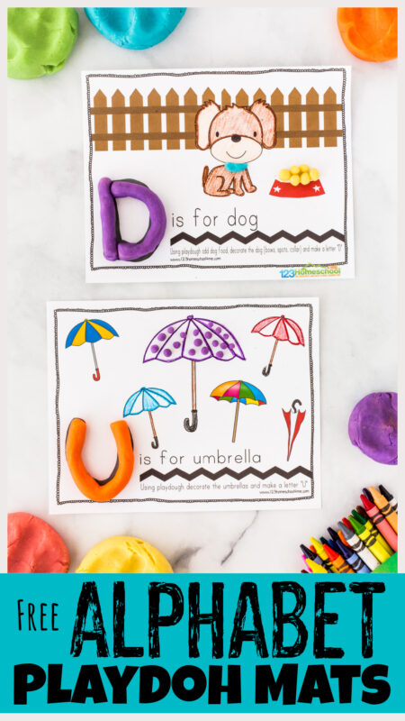 Playdoh + letters = FUN alphabet activity! These CUTE, Free Printable alphabet playdough mats teach ABCs while finishing the pictures.