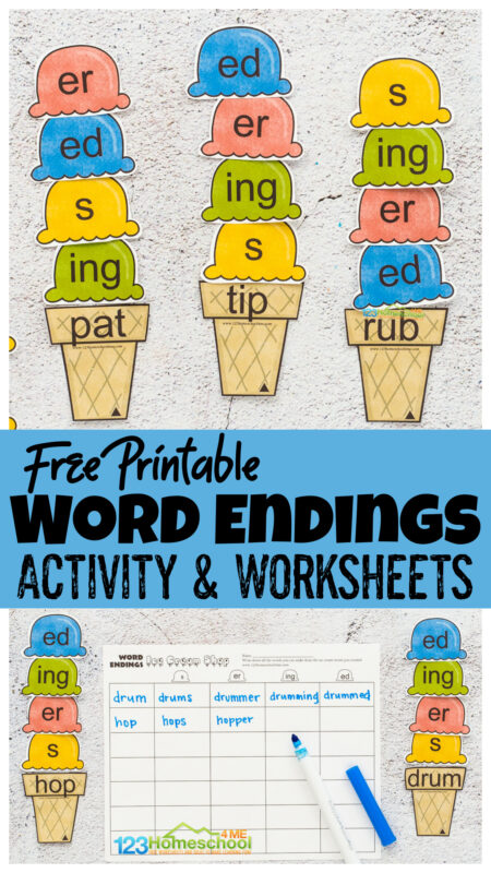Looking for a fun summer activities for first grade? This word endings game has a fun ice cream theme and coordinationg word ending worksheets to help 1st grade and 2nd graders practice adding endings to words. This language arts activity is a fun word endings activity adding s, ed, ing, and er to words. Simply download pdf file withplural s worksheet pages.