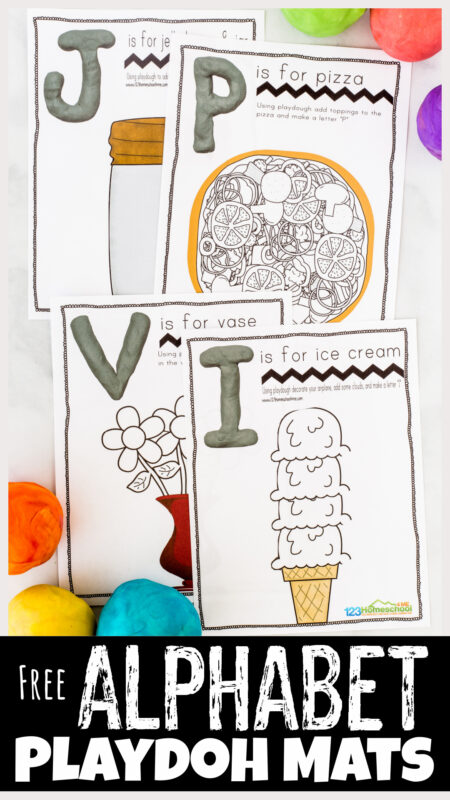 Kids love to play with playdough! Combine playdough and learning letters with these super cute alphabet playdough mats. While using these playdough letter mats children will be encouraged to create play dough letters and finish the pictures while learning their ABCs and the sounds they make. This free alphabet printable is such a FUN alphabet activity to use with play doh and markers or crayons! Use these alphabet playdoh mats with your toddler, preschool, pre-k, and kindergarten age child. Simply print theletter mats pdf file and you are ready to play and learn with thisalphabet activity.