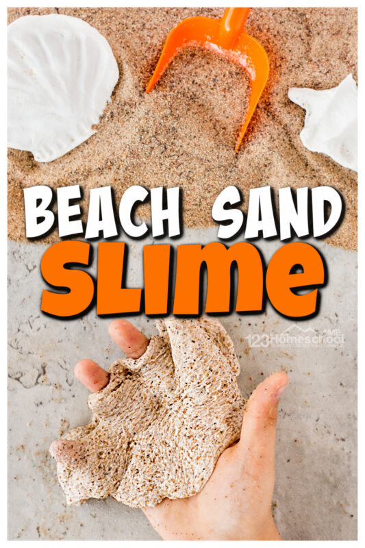 Bring some beach fun home with this super simple,sand slime. Thissand slime recipeis quick and easy to make for your beach theme or a summer activity for preschoolers. Kids of all ages, from toddler, preschool, pre-k, kindergarten, and first grade students will LOVE thisbeach slime!
