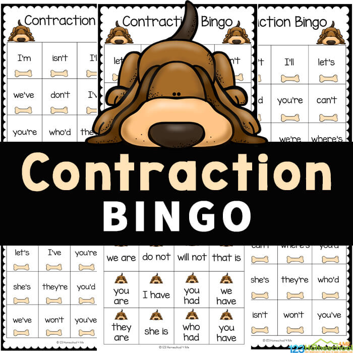 Cute Contractions Game helps children practice identifying contractions. This Contraction Bingo is a fun contractions activity to play and learn!