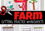 Your child will love these playful farm cutting worksheets! This cutting practice activity is a FUN way to help toddler, preschool, pre-k, and kindergarten age children improve coordination and hand muscles as they learn to use scissors. There are a variety of cutting activities for preschoolers using thesecutting practice worksheets.From plowing the fields to helping farm baby animals getting to their moms, shape cut and sort to a cute farm cut and paste worksheet - these are as cute as they are FUN! Simply download pdf file withfree printable cutting activities for preschoolers and you are ready to play and learn with cutting activities for kids.