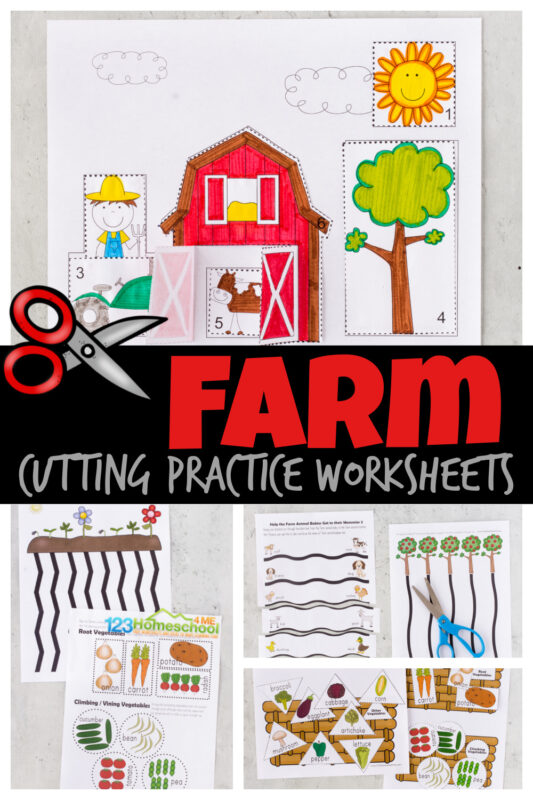 Your child will love these playful farm cutting worksheets! This cutting practice activity is a FUN way to help toddler, preschool, pre-k, and kindergarten age children improve coordination and hand muscles as they learn to use scissors. There are a variety of cutting activities for preschoolers using thesecutting practice worksheets.From plowing the fields to helping farm baby animals getting to their moms, shape cut and sort to a cute farm cut and paste worksheet - these are as cute as they are FUN! Simply print pdf file withfree printable cutting activities for preschoolers and you are ready to play and learn with cutting activities for kids.