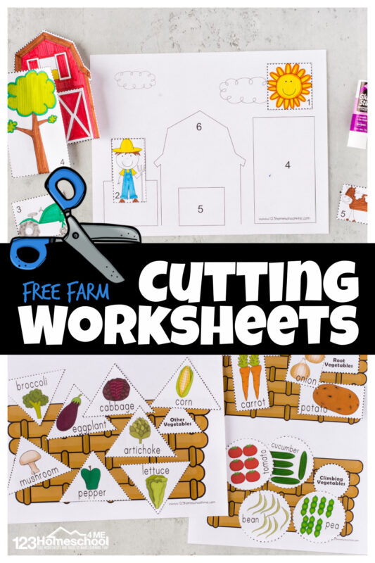 Your child will love these playful farm cutting worksheets! This cutting practice activity is a FUN way to help toddler, preschool, pre-k, and kindergarten age children improve coordination and hand muscles as they learn to use scissors. There are a variety of cutting activities for preschoolers using thesecutting practice worksheets. From plowing the fields to helping farm baby animals getting to their moms, shape cut and sort to a cute farm cut and paste worksheet - these are as cute as they are FUN! Simply print pdf file with free printable cutting activities for preschoolers and you are ready to play and learn with cutting activities for kids.