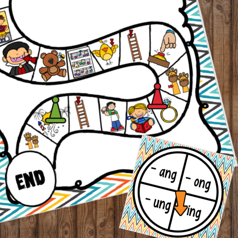rhyming games for first grade and 2nd grade featuring ing, ang, ung, ong sound