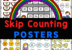 FREE skip counting charts have cute themes for learning to skip count the 1s-15s with your child! These posters are a fun skip counting activity for K-4th!