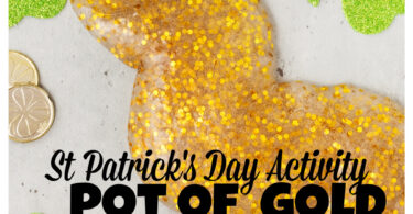 Get ready for a REALLY fun st patricks day activity with this gold slime! It is super quick and EASY to make this gold glitter slime that looks so cool as it oozes, stretches, and drips. Use this outrageously FUN st patrick's day activities for toddlers, preschoolers, kindergartners, grade 1, and grade 2 students! But watch out or sneaky Leprechauns may try to steal your gold!
