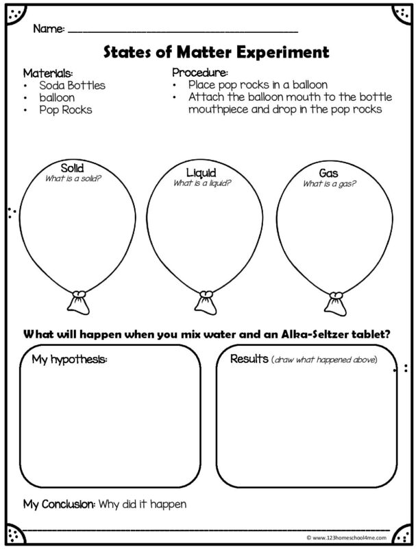 states of matter experiment worksheet