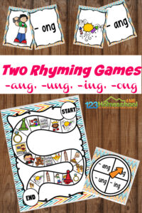 If your child is working onwords ending with ng, you will love this funng phonic sound game! Instead of bouringng words worksheet, make learning phonics skills FUN with thisrhyming game featuringng words. Use thisng sound wordswith first grade and 2nd graders. Simply download pdf file withword with ng sound and you are ready to play and learn with a free printable rhyming game!