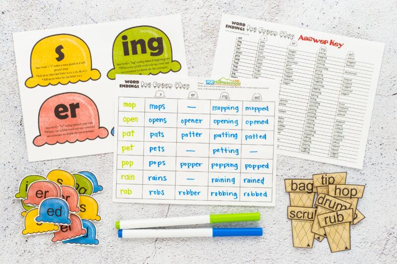 word endings printable