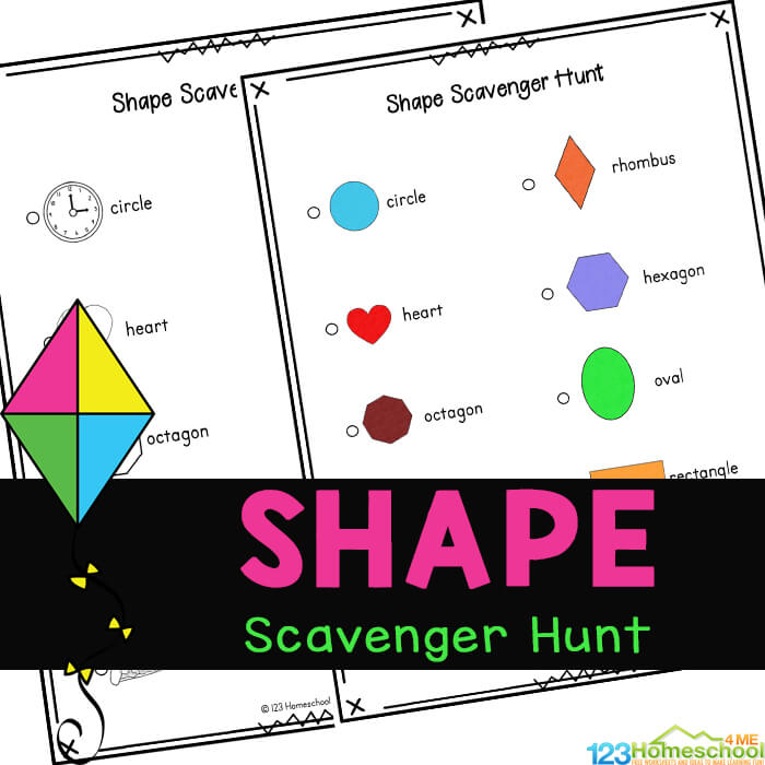 Work on learning shapes with this cute, free printable, Shape Scavenger Hunt. Thisshape activity is great for teaching  preschool shapes.