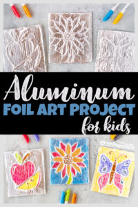 Get ready to say WOW! You and your kids are going to love making this clever and beautiful tin foil art! This Amazingaluminum foil art uses a simple technique to make a truly stunning work of art from simple flowers to butterflies, crosses to houses, animals to any picture or design you can dream up. Try making foil art for kids from toddler, preschool, pre-k, kindergarten, and elementary age kids in first grade, 2nd grade, 3rd grade, and 4th graders too. All you need are a few simple materials to make a stunning work of art with thistin foil crafts.